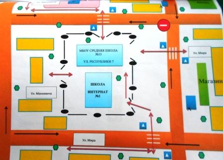 Схема безопасности маршрута до школы